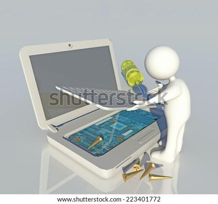 pc, laptop repair- white character technician repairs a laptop - screwdriver, screws reflection - stock photo