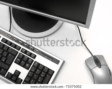 PC monitor,mouse and monitor on the white desk, overhead shot,for business IT or computer  themes - stock photo