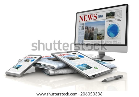 pc monitor, tablet, cellular and daily newspaper - stock photo