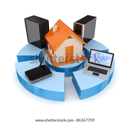 PC, notebook, router and server around small house. Isolated on white background.3d rendered. - stock photo