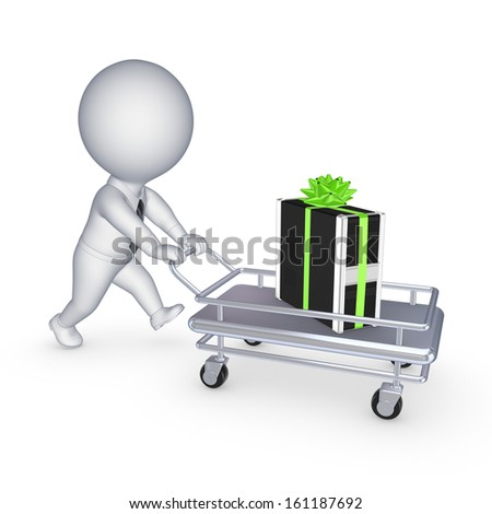 PC on pushcart.Isolated on white.3d rendered. - stock photo