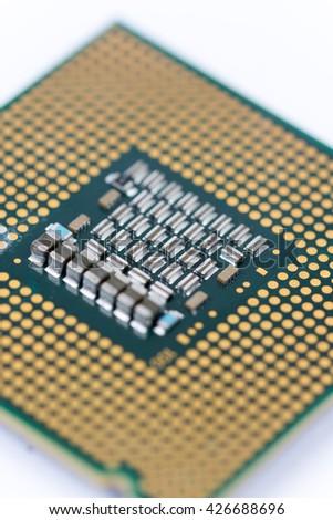 PC processor close up macro background image. - stock photo