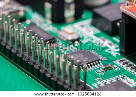 PCB processor and pin connector.