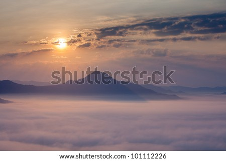 Pctures fog from the top of mountain - stock photo