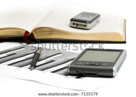 PDA and chart - stock photo