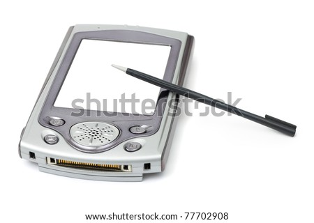 PDA and stylus isolated on white background - stock photo