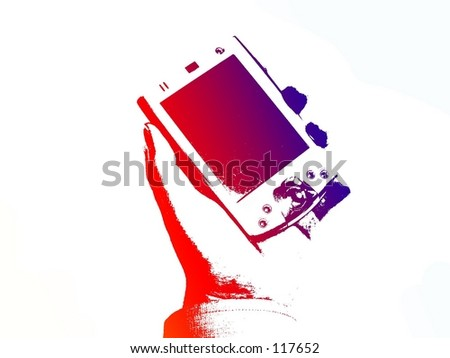 PDA hand held in colour - stock photo