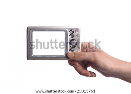 Pda in hand, the white screen alone for your convenience - stock photo