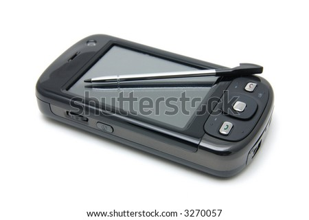 Pda phone and pen in isolated white background