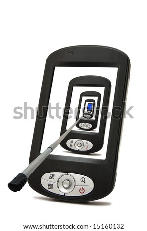 PDA with stylus  isolated on a white background - stock photo