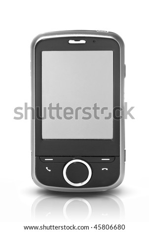 pda with touch screen isolated on white - stock photo