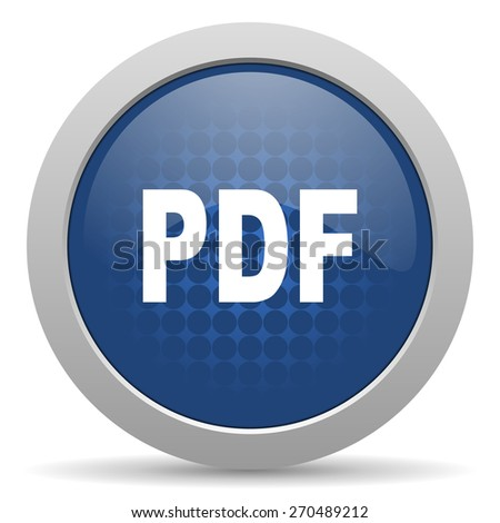 pdf blue glossy web icon  - stock photo