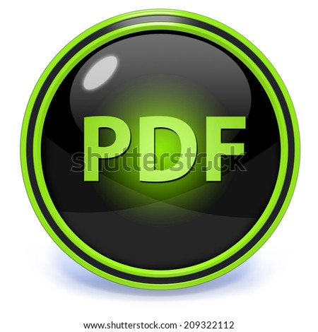 Pdf circular icon on white background