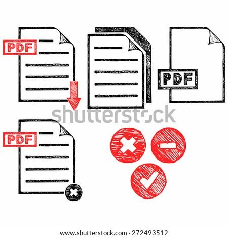 PDF icon. Doodle style. Raster version - stock photo