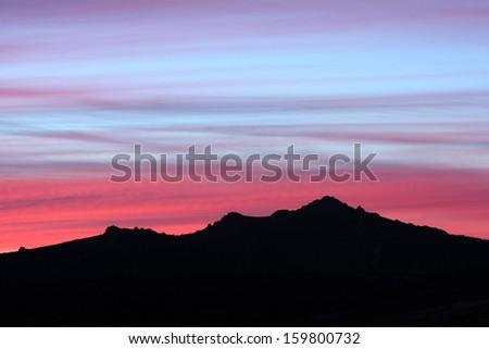 Pe�±a Mira. Sunset in the Sierra de la Culebra, Zamora. - stock photo