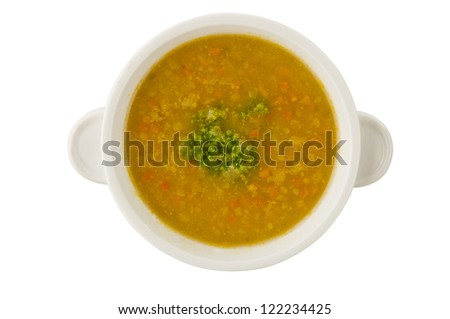 pea soup in a bowl isolated on white background