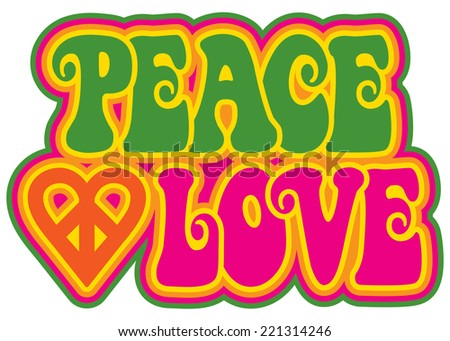 Peace and Love retro-style text design with a peace heart symbol. - stock photo