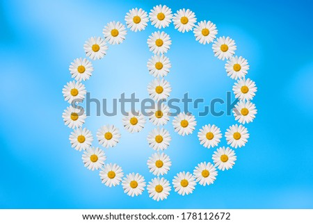 peace and love symbol made in daisies flower - stock photo
