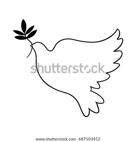 peace dove sign dove holding olive branch illustration