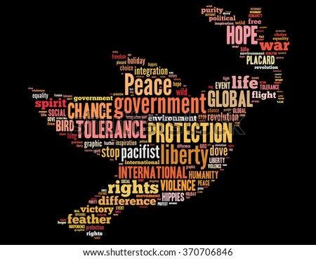 Peace dove, word cloud concept on black background.
