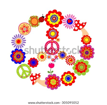 Peace flower symbol with mushrooms - stock photo