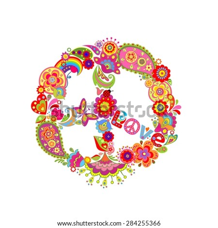 Peace flower symbol with paisley and abstract colorful flowers - stock photo