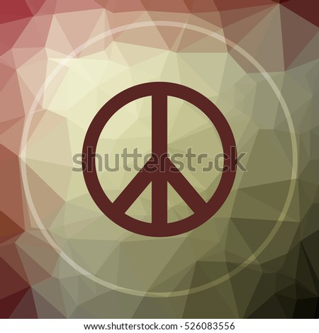 Peace icon. Peace website button on khaki low poly background.