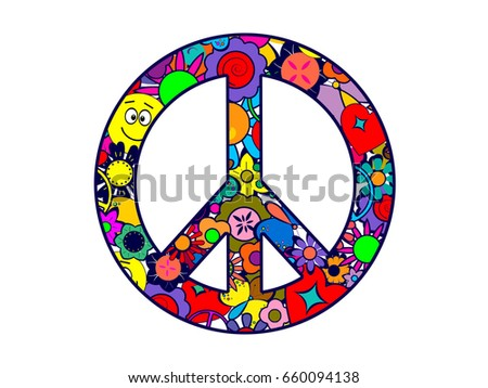 Peace Love Happiness Silly Faces Stock Illustration 660094138