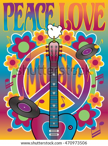 Peace-Love-and-Music Retro-styled illustration of a heart-shaped guitar, peace symbol, dove, vinyl records, musical notes and flowers.