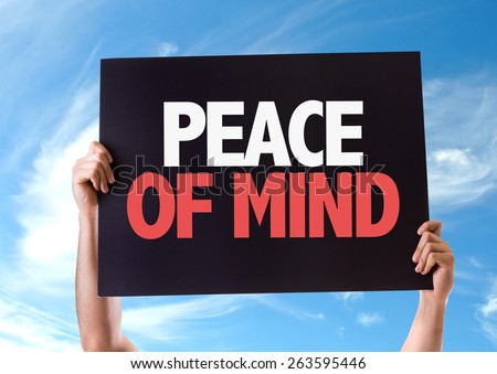 Peace of Mind card with sky background - stock photo