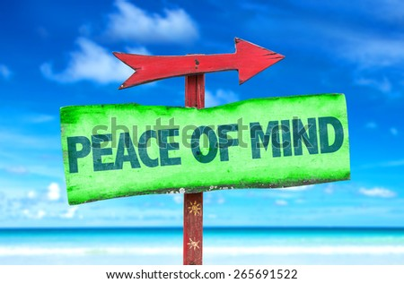 Peace of Mind sign with beach background - stock photo