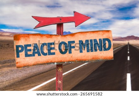 Peace of Mind sign with road background - stock photo