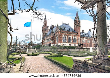Peace Palace view fron the bridge over th epond in the garden on the winter season - stock photo