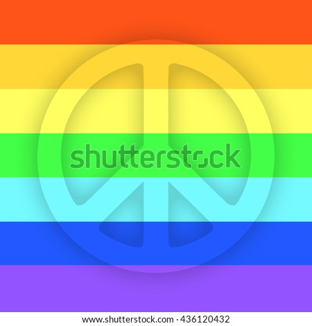 Peace sign flat icon with rainbow pattern, for apps and websites. Gay culture symbol
