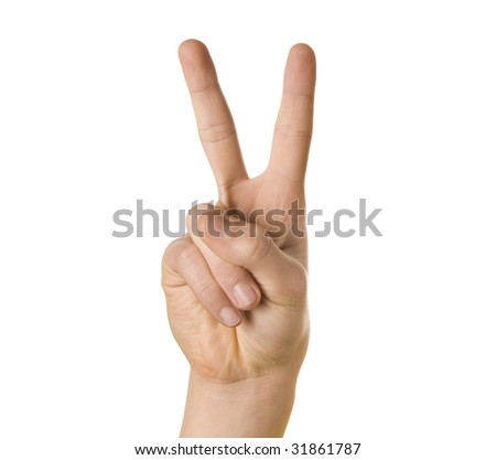 Peace sign hand on white background - stock photo