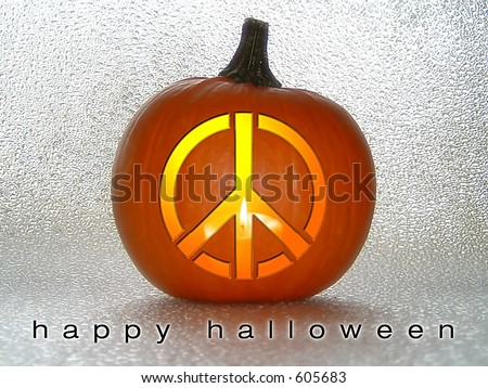 Peace Sign in Pumpkin - stock photo
