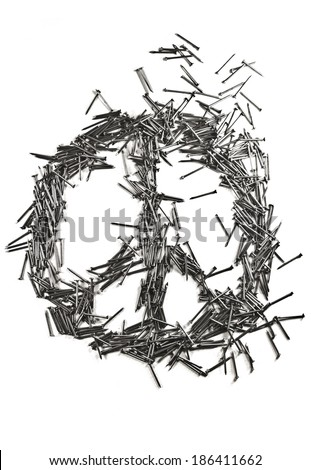 Peace sign made of iron nails pile