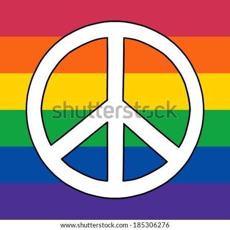Peace Sign On Gay Rainbow Flag - stock photo