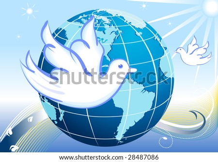 Peace to the World - our planet and white doves flying in the blue sky.