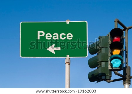 Peace Traffic Sign with Green light