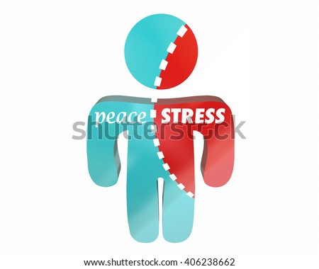 Peace Vs Stress Person Torn Worry Work Health Hurting - stock photo