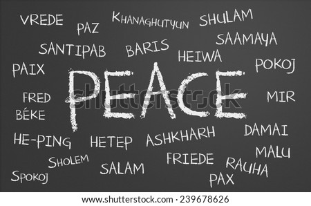 peace word cloud written in many different languages on a chalkboard - stock photo