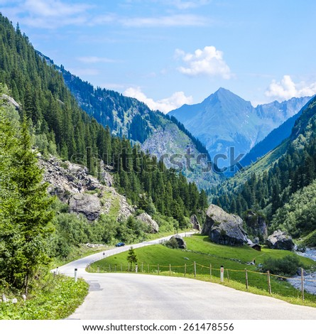 Peaceful alpine road in Italian Alps with evergreen tress and high peaks in background, Italy - stock photo