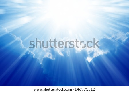 Peaceful background - beautiful blue sky with bright sun, light from heaven - stock photo