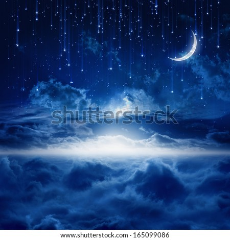 Peaceful background, blue night sky with moon, falling stars, beautiful clouds, glowing horizon. Elements of this image furnished by NASA - stock photo