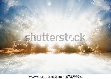 Peaceful background - bright sun shines, beautiful sky with reflection in water - heaven - stock photo