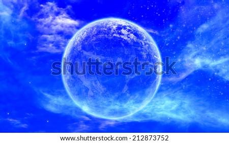 Peaceful background, night sky with full moon, stars, beautiful - stock photo