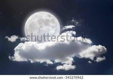 Peaceful background, night sky with full moon, stars, beautiful clouds.