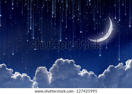 Peaceful Background Night Sky With Moon Stars Beautiful Clouds Elements Of This