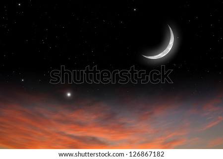 Peaceful background, sunset sky with moon, stars, red clouds. Elements of this image furnished by NASA - stock photo